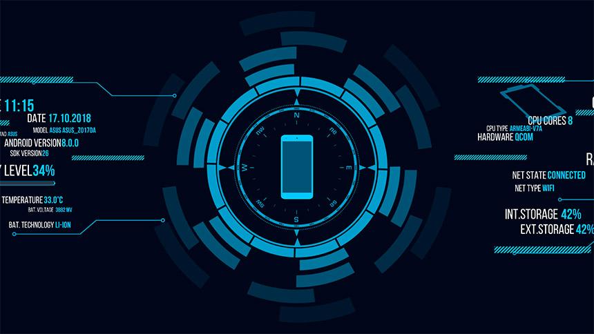 Holo Droid Free 近未来風サイバーな雰囲気でデイバイス情報を表示するライブ壁紙 Orefolder